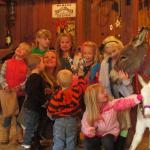 Birthday party kids animals in western style party barn